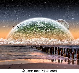 Beach planet landscape - Beautiful beach planet landscape...