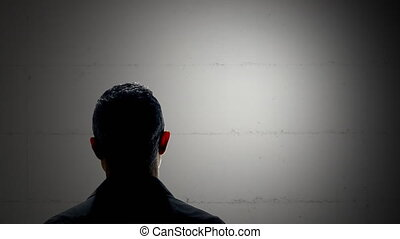 anonymous man interview silhouette - witness criminal being...