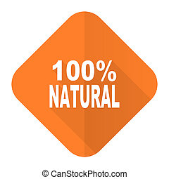 natural orange flat icon 100 percent natural sign