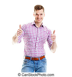 Stylish young man showing both thumbs up