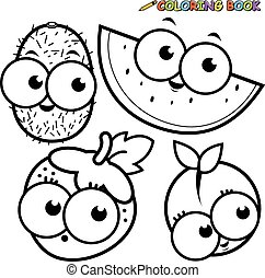 Coloring book page cartoon fruit