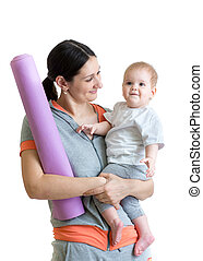 Mother and baby are ready to fitness exercises - Mother and...