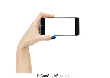 Woman showing smart phone with isolated screen