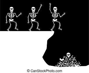 saudações, salto, dia das bruxas, esqueleto