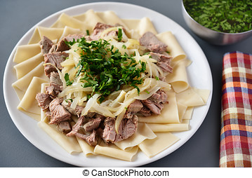 Beshbarmak - Traditional dish of Turkic people in Central...
