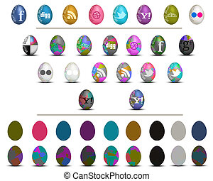 Colorful social media Easter eggs icon set for many purpose...
