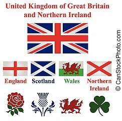 United Kingdom collection of flags and national emblems of...