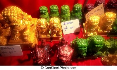 set of figurines at the night Thai market HD 1920x1080 - set...