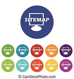 Sitemap flat icon - Sitemap web flat icon in different...