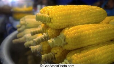 Grilled Corn in night market Thailand - Grilled Corn in...