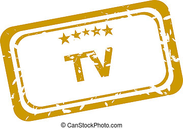 tv stamp isolated on white background