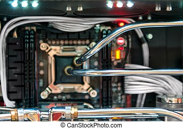 Modern computer processor and motherboard closeup photo