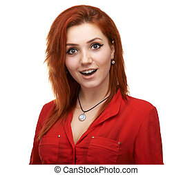 beautiful girl pleasantly surprised - Redhead beautiful girl...