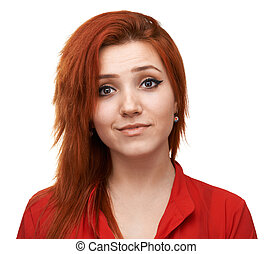 Pretty girl is disappointed - Pretty red-haired girl is...