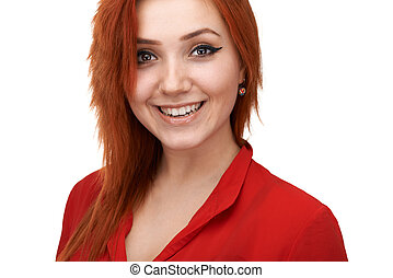 redheaded girl smiling generously - redheaded pretty girl...