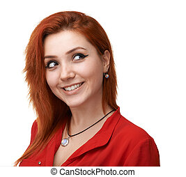 red-haired girl having fun plotting - Pretty red-haired girl...