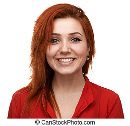 Redhead girl experiences happiness - Redhead beautiful girl...