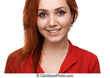 Redhead girl smiles sweetly - Redhead beautiful girl smiles...