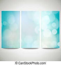 Blurry backgrounds set with bokeh effect. Abstract banners...