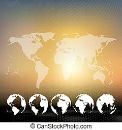 World map with dotted globes, abstract blurred background vector