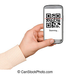 QR code - Scanning QR code with mobile smart phone isolated...