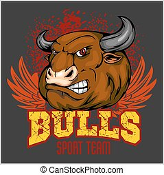 Bull Head Mascot - vector illustration for sport team and...
