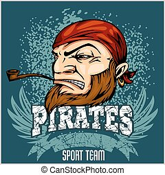 Pirate Mascot with Bandana and pipe - vector illustration...