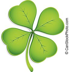 Four-Leaf Clover - Realistic vector four-leaf clover with...