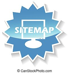 Sitemap blue icon - Sitemap web blue icon on a white...