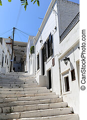 Naxos - The small streets of Apiranthos at the Naxos island...