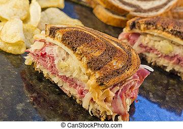 Reuben Chips Pickle - Famous New York Reuben corned beef...