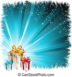 Christmas gifts - Christmas gift background with snowy...