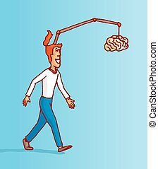 Man on full procrastination chasing his own brain - Cartoon...