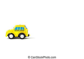 caricatura, de, Un, escuela, autobús,