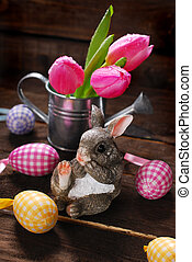 easter decoration with rabbit