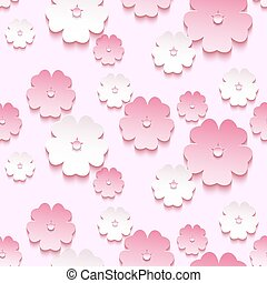 Beautiful background seamless pattern, 3d sakura blossom -...