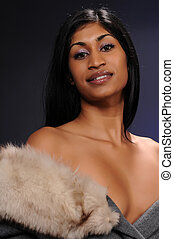 Indian woman - Beautiful young Indian woman in a coat with a...