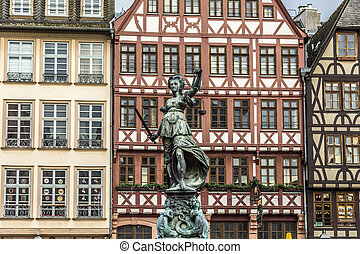 Justitia, a monument in Frankfurt, Germany - Justitia - Lady...