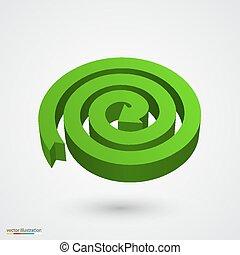 Green spiral arrow 3D. Vector