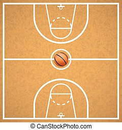 Basketball court with a ball art cover Vector illustration