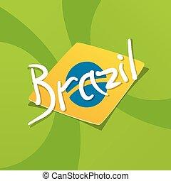 Brazil flag over green background