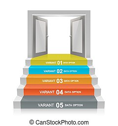 Stair with open doors art. Vector illustration