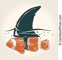Little fish with great idea - Vector conceptual illustration...