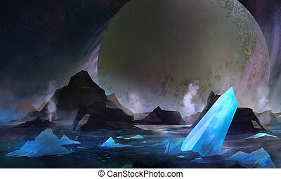 Cold planet - Cold space planet with blue crystal elements...