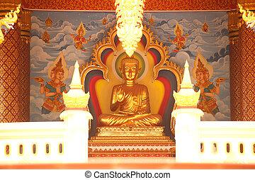 Sitting Buddha in Laos temple .