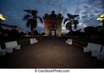 Patuxay at sun-up in Vientiane , Loas
