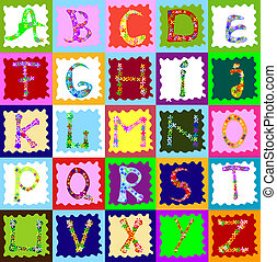 abstract design with alphabet; creative design for children
