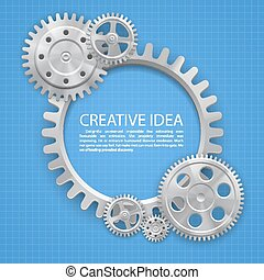 Engineering gear on paper art Vector illustration