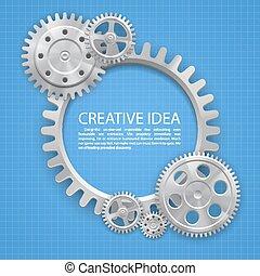 Engineering gear on paper art. Vector illustration