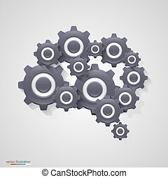 Brain gears. Vector